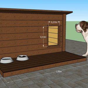 Dimensions extérieures de la niche Maxi180 avec une terrasse. Fabriqué par Maison du Loup.